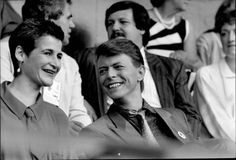 """night-spell: """" David Bowie and Corinne """"Coco"""" Schwab at Live Aid, Wembley Stadium, London, 13th July 1985 """""""
