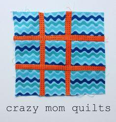 crazy mom quilts: tic tac toe block: a tutorial Tic Tac Toe Board, Cross Quilt, Crazy Mom, Jellyroll Quilts, Quilting Tutorials, Quilting Ideas, Sewing Hacks, Sewing Tips, Quilt Blocks