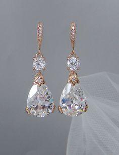 rose gold bridal earrings drop wedding earrings swarovski bridesmaids jewelry megan bridal earrings