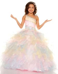 c3fe182d2 Colorful Ball Gown One Shoulder Brush Train Organza Girls Pageant Dress  With Ruched
