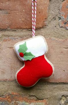 Handmade Felt Christmas stocking ornament by TillysHangout on Etsy