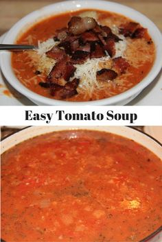 Easy Tomato Soup with canned tomatoes, dried herbs, fresh onion, and just a touch of cream!