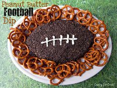 Peanut Butter Football Dip | Crazy for Crust...I think this a must for our next tailgate and Wildcat watch party! #food #tailgating #football #yummy