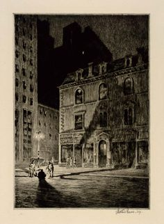 The Great Shadow 1925 Martin Lewis Born: Castlemain, Australia 1881 Died: New York, New York 1962 drypoint on paper Norman Rockwell, Rockwell Kent, Art And Illustration, Ink Illustrations, Nocturne, Etching Prints, Scratchboard, American Art, Painting & Drawing