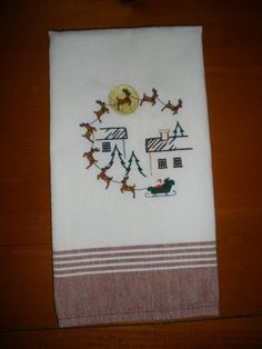 Christmas Embroidered Towel  Santa and Reindeer by LynnsCozyQuilts, $8.99