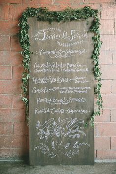 Gourmet Wedding Details for the Food Obsessed - Style Me Pretty Menu Signage, Wedding Signage, Wedding Catering, Wedding Menu, Rustic Wedding, Our Wedding, Wedding Planning, Dream Wedding, Wedding Dinner