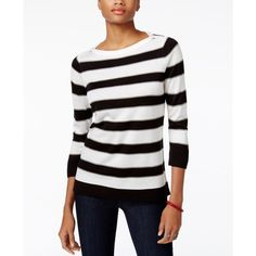 Tommy Hilfiger Striped Sweater, ($70) ❤ liked on Polyvore featuring tops, sweaters, ivory black combo, winter white sweater, ivory sweater, nautical striped top, nautical stripe sweater and ivory top
