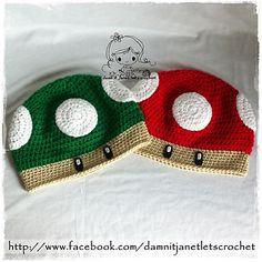 Mushroom Beanie pattern by Janet Carrillo Crochet Game, Crochet Kids Hats, Crochet Gifts, Cute Crochet, Crochet Super Mario, Super Mario Hat, Crochet Designs, Crochet Patterns, Beanie Pattern