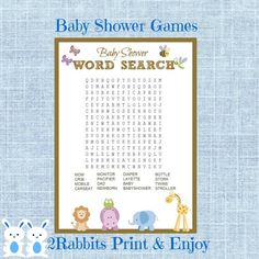 Safari Jungle Animal Baby Shower Word Search Game Baby Shower Crossword Puzzle Game- Instant Download - Baby Shower Related Words