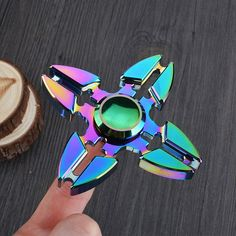 Colorful Stress Relief Toy Crab Clip Cross Finger Spinner - COLORMIX