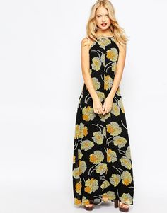 Image 4 of ASOS Cross Back Strap Floral Maxi Dress