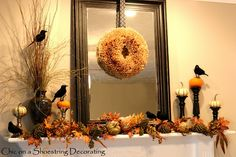 Chic on a Shoestring Decorating: Halloween Mantel... is for the Birds, Take 2