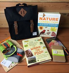This explorer's knapsack has everything a kid needs to discover nature. And a few helpful books for their parents as well.