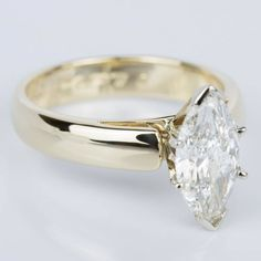 Marquise Diamond Cathedral Engagement Ring in Yellow Gold ct. Marquise Diamond, Marquise Cut, Classic Engagement Rings, Size 10 Rings, Vintage Rings, Jewelry Rings, Jewellery, Sterling Silver Rings, Wedding Rings