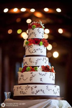 khaki and black reception   Coral And Brown Wedding Cake Wedding cake with brown trim