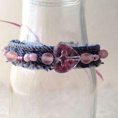 Pretty in Pink and Denim Beaded Cuff Bracelet by My Found Objects #Repurposeddenim #Handmadejewelry
