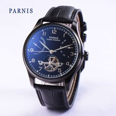 97.00$  Buy here - http://alircm.worldwells.pw/go.php?t=32698371108 - 2016 New 43mm Parnis Tourbillon  Watch Men Automatic Sea Gull Power Reserve Watches Black Dial PVD Case Men's Wristwatch