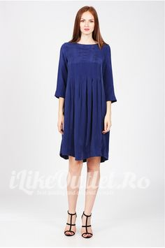 Rochie albastra Folds - COS Elegant Dresses, Cos, Cold Shoulder Dress, High Neck Dress, Fashion, Turtleneck Dress, Moda, Fashion Styles, Dress Up Clothes