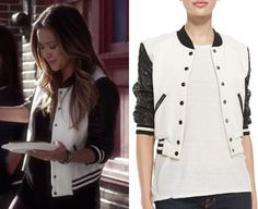 "Emily's black and white varsity jacket from Pretty Little Liars episode ""Thrown from the Ride"". Pam & Gela Letterman Jacket with Q. Pretty Little Liars Emily, Pretty Little Liars Outfits, Pll Outfits, Cute Outfits, Girls First Communion Dresses, Girls Dresses, Flower Girl Dresses, Plus Size Girls, Emily Fields"