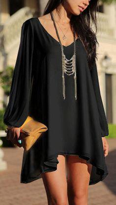 Let's Talk Chic Tunic Dress (Black)