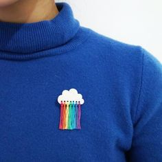 Handmade Cloud Brooch - white, clear, rainbow, solid colour - That's It Clay Crafts, Felt Crafts, Diy And Crafts, Rainbow Outfit, Rainbow Clothes, Gloss Matte, Diy Kleidung, Rainbow Cloud, Ideias Diy