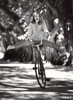 Hemingway was fond of saying that the best way to discover a place was by bike. His great-granddaughter seems to agree. Jonathan Saunders sweater, $888; Neapolitan Collection, Winnetka, IL. Dior silk pants, $2,100; Dior boutiques. Cline sandals.