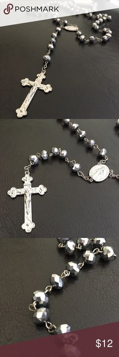 New WT Rosary necklace. Darker gray and silver New with tag. Unisex. Darker gray crystals and silver design Jewelry Necklaces