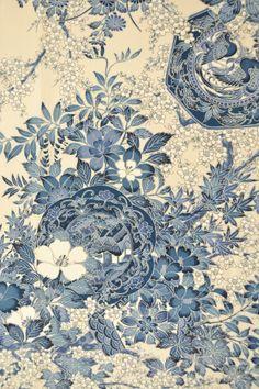 VINTAGE SILK KIMONO FABRIC:Plum Blossom/Chrysanthemum@F81