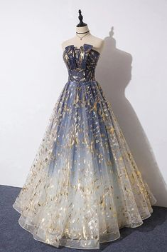 Charming Blue Long Party Dress, Blue Prom Gown When you purchas. Puffy Prom Dresses, Pretty Prom Dresses, Ball Gowns Prom, A Line Prom Dresses, Tulle Prom Dress, Ball Dresses, Elegant Dresses, Homecoming Dresses, Formal Dresses