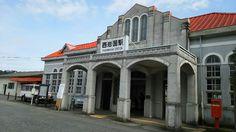 西岩国駅。築85年のレトロな駅舎。毎月プチマルシェやってます。