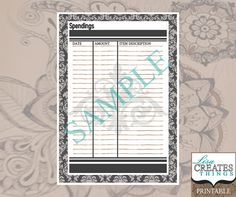Damask Design - Spendings/Finances Planner Page A5 Printable
