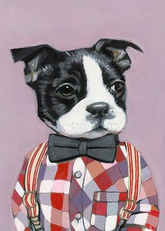 Charlie -8.5 x 11 -Matte Print - Dogs In Clothes by Heather Mattoon - All of her prints are amazing, I can't decide, but I definitely want some!