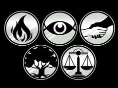 5 factions of Divergent(top left to bottom right):Dauntless, Erudite, Abnegation, Amity, and Candor.