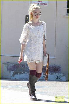 Not to be outdone by her sister, here's Elle Fanning in a dress with thread crochet insets (August 2014)