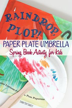 Make a paper plate umbrella and add raindrops for a perfect Spring craft for preschoolers! Preschoolers love this easy book inspired Spring craft.
