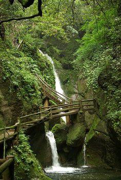 Waterfall Path, Sichuan, China www.facebook.com/loveswish