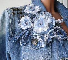 Denim flower fabric flower denim jewelry denim brooch by eMDdesign