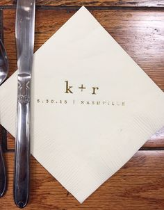 Set of 100 Monogrammed Napkins | Ampersand | Wedding or Personalized Home Gift | Darby Cards