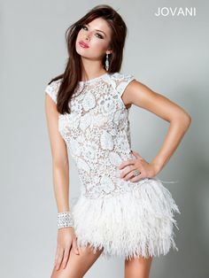 Jovani Lace Feathered Short Dress, Style 171924