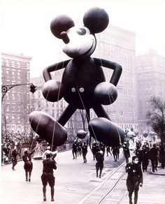Vintage Mickey Mouse Macy's Thanksgiving parade balloon handled by sinister-looking costumed mice