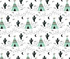 Teepee - white background fabric by kimsa on Spoonflower - custom fabric