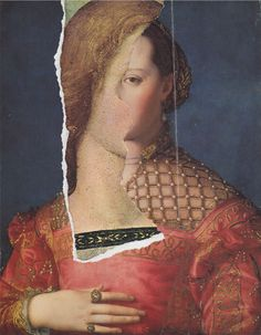 Jiří Kolář(Czech, 1914-2002) As if the angel was peeping through a slit in the hedge (Bronzino + young girl Renaissance portrait), 1996 Collage by tearing on cardboard