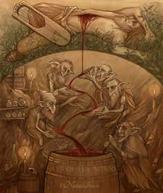 Norse Mythology: The death of Kvasir, and the Mead of Poetry... made from his blood, and honey. http://guthbrand.tumblr.com/image/120389091083 https://en.wikipedia.org/wiki/Kvasir