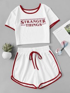 Shop Contrast Trim Letter Print Tee With Shorts online. ROMWE offers Contrast Trim Letter Print Tee With Shorts & more to fit your fashionable needs. Cute Lazy Outfits, Teenage Outfits, Teen Fashion Outfits, Outfits For Teens, Trendy Outfits, Girl Outfits, Womens Fashion, Fashion Top, Summer Outfits