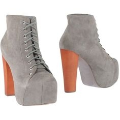 Jeffrey Campbell Ankle Boots ($129) ❤ liked on Polyvore featuring shoes, boots, ankle booties, grey, short boots, gray ankle boots, gray leather boots, grey leather booties and leather bootie