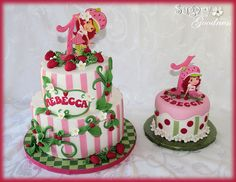 8 and 6 inch cakes - smash cake is 5 inch. Fondant was flavored strawberry. Strawberry Shortcakes are edible images. Strawberry Shortcake Theme Cake, Strawberry Cakes, Little Girl Cakes, 1st Birthday Cakes, Birthday Ideas, Fiestas Party, Just Cakes, Fancy Cakes, Cake Smash