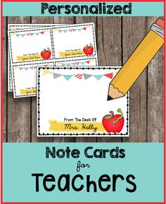 Best TEACHER APPRECIATION gift ever! You can personalize these cards yourself for your favorite teacher. Every teacher would love to have little notes with their name on them to send to parents, colleagues and students. Teacher Cards, Teacher Name, Your Teacher, Appreciation Note, Teacher Appreciation Week, Personalized Teacher Gifts, Personalized Note Cards, Note Card Template, Notes To Parents