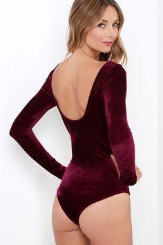 Feline Frisky Burgundy Velvet Bodysuit at Lulus.com! Velvet Long Sleeve  Top 00e470805