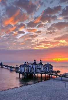 Sunrise at the pier in spa town of Sellin on the Island of Rügen, in Mecklenburg-Vorpommern Germany (by matt.koerner1)