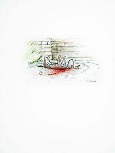 James Rawson. Deceased. Pen and watercolour on paper. Original. £250 #jamesrawson #deceased #winniethepooh #pooh #eor #zombies #drawing #painting #art #brighton #nowallsgallery